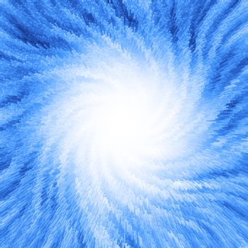 Light appearing in front of blue lines which are forming a spiral