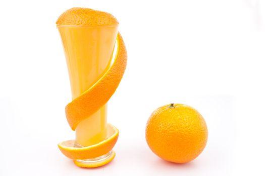 Orange peel surrounding a glass