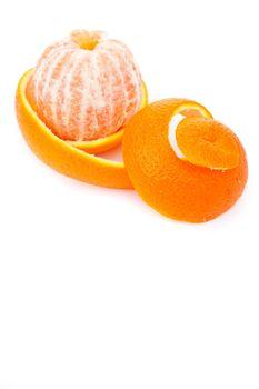Orange surrounded by an orange peel