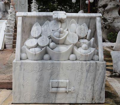 Marble sculpture of money box