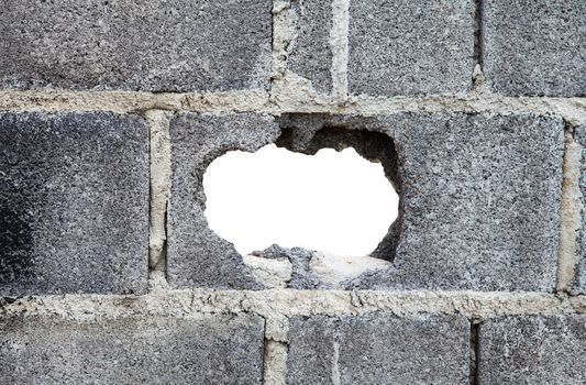 Hole in a concrete wall
