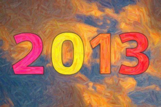 Digits 2013 against the dusk sky, oil painting