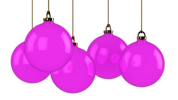 Five hanging purple chrismas balls isolated on white