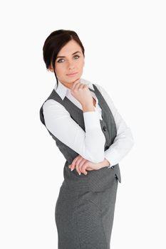 Seductive brunette businesswoman