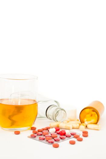 Suicide attempt with a mixture of alcohol and medications