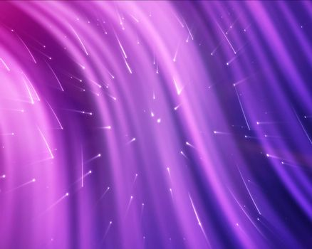 Purple streams of light with shining stars against a colourful background