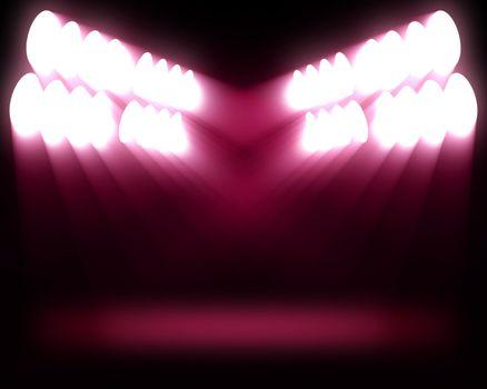 Stripes of spots of pink lights