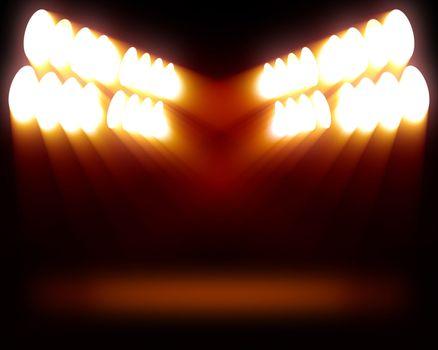 Stripes of spots of orange lights