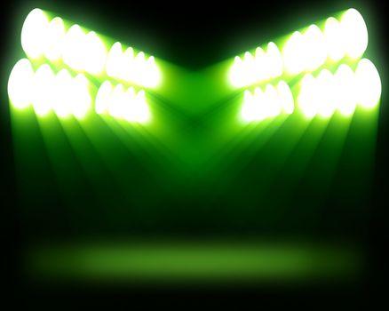 Stripes of spots of green light