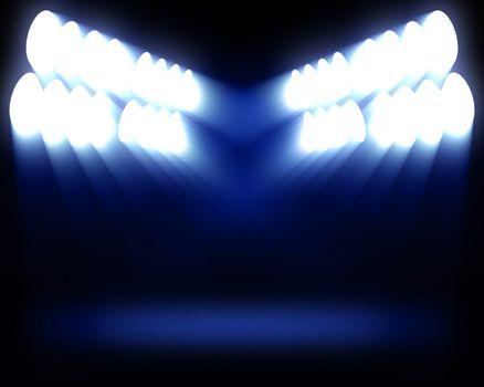 Stripes of spots of blue light