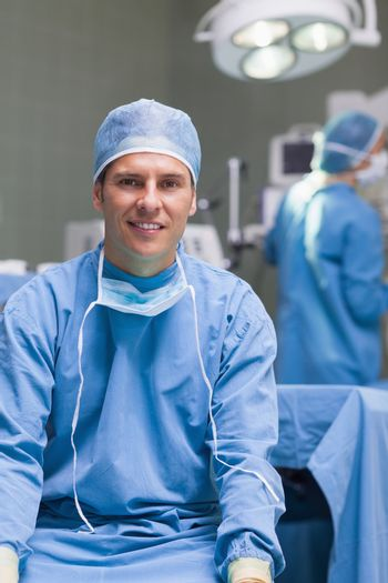 Practitioner wearing a surgical equipment