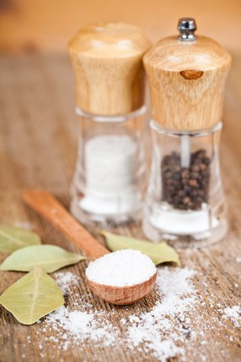 salt and pepper and bay leaves