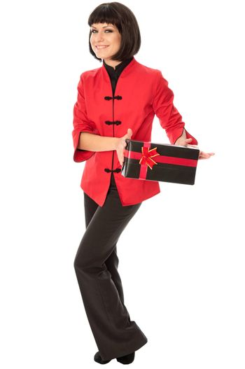 woman holding a black box with red bow as a gift