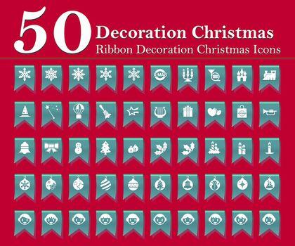 Christmas decoration icons set on blue ribbon