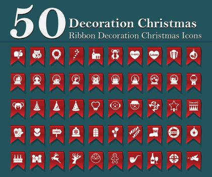 Christmas decoration icons set on red ribbon