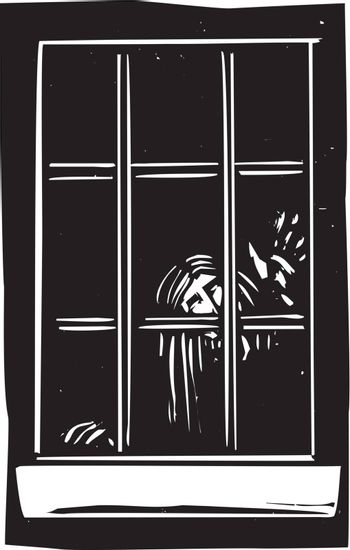 Woodcut expressionist style image of a ghost tapping at a window.