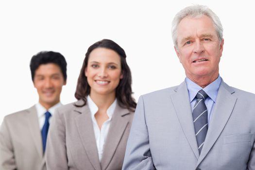 Senior salesman with his team