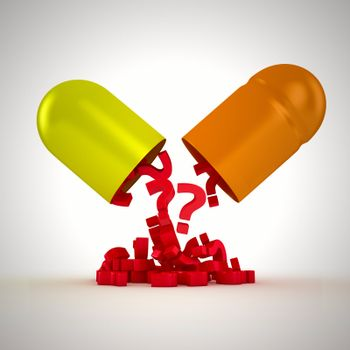 What ingredients of drug? Red question marks falls from big capsule