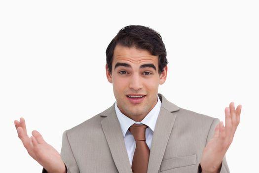Close up of clueless salesman