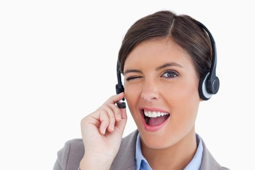 Close up of blinking call center agent
