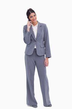 Female entrepreneur on her cellphone