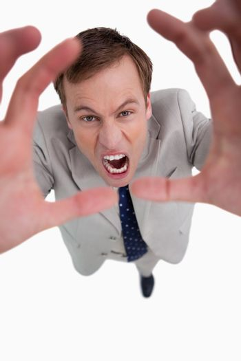 Angry yelling businessman