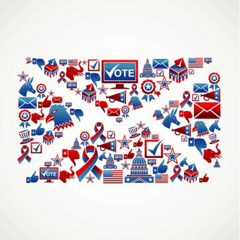 US election icons mail shape