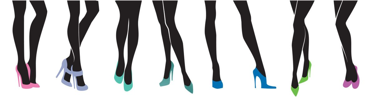 Vector illustration of Female legs with different shoes