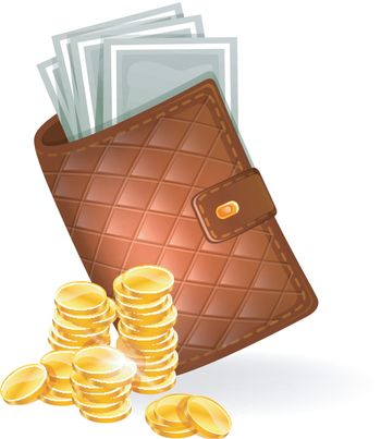 Vector illustration of Wallet with banknotes