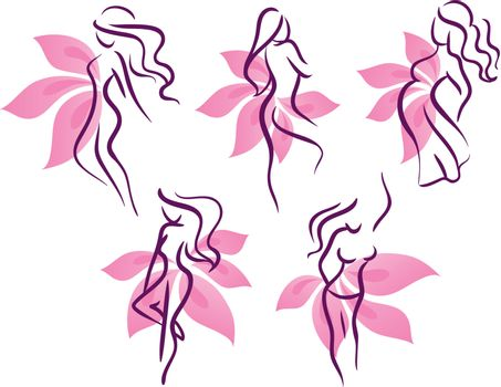 Vector illustration of Stylized womans