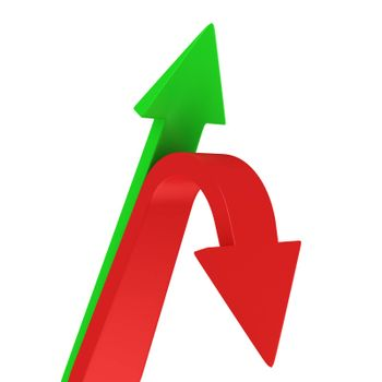 Red and green arrows pointing different directions
