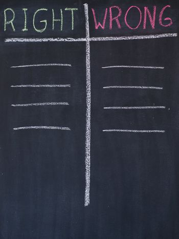 Right and wrong list drawn on a blackboard