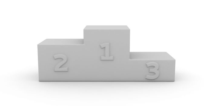 White pedestal with first, second and third places