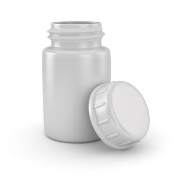 Open blank pill bottle on the white background