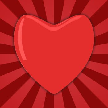 Big red heart on the striped background