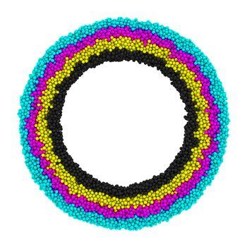 CMYK round frame isolated on the white background
