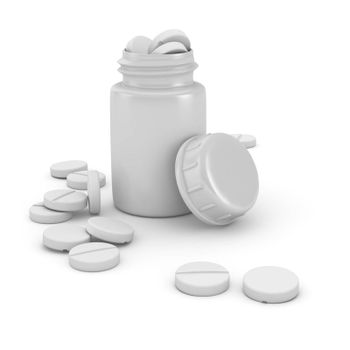 Medical bottle full of tablets