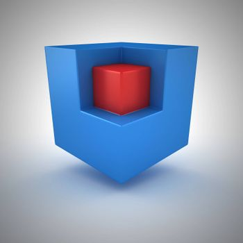 Red small cube inside of big blue cube