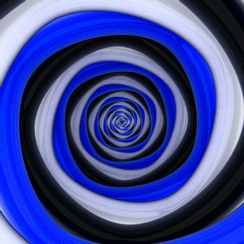 Square vortex of black, white, blue colors