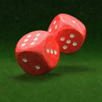 Painting of two red dices on green background