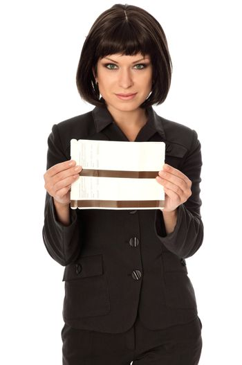 Woman holding in the hand tickets for business trip