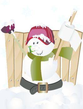 baseball player snowman clip art