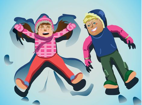 playing kids on snow clip art