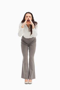 Portrait of an employee yelling