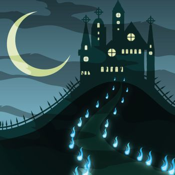 creepy  halloween castle vector