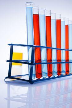 Laboratory flasks containing liquid color