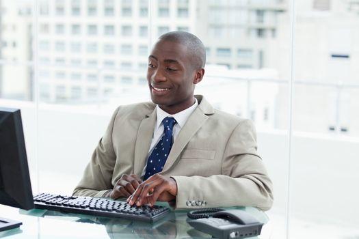 Entrepreneur using a computer