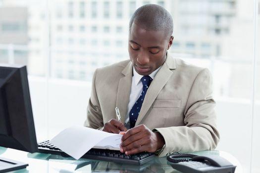 Entrepreneur signing a document