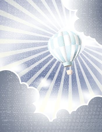 hot Air balloons in the sky with ray and Cloud