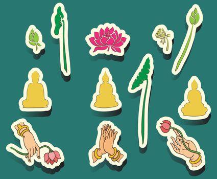Set of Oriental icons, Buddha,icon